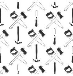 carpentry seamless pattern with hammer ax saw vector image