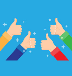 cheering people holding many thumbs thumbs up vector image