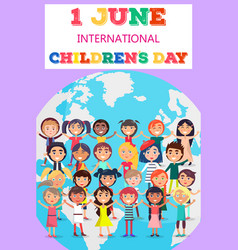childrens day poster with kids on earth symbol vector image
