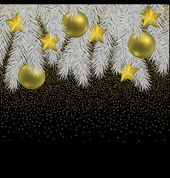 christmas and new year seamless border with fir vector image