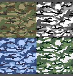 colorful seamless camouflage pattern set of vector image