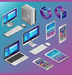 computers and digital gadgets in isometry vector image