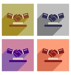 concept of flat icons with long shadow handshake vector image