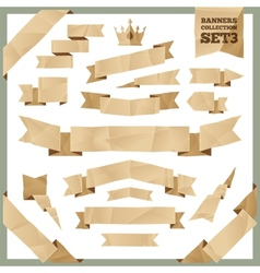 Crumpled Paper Ribbons Banners Collection Set3 vector