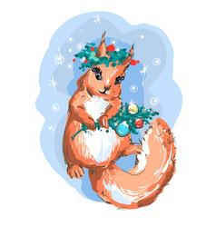 cute christmas squirrel art vector image