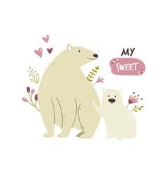 Cute white bear family baby cartoon design vector