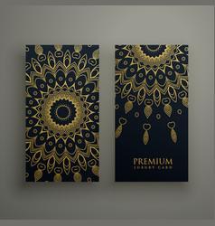 Dark mandala card or banners design with golden vector