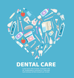 Dental care symbols in shape heart vector