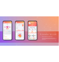 different ui ux gui screens fitness app vector image