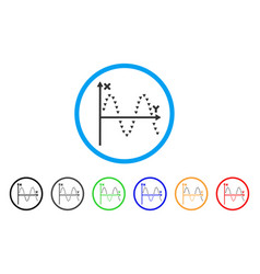 Dotted sine plot rounded icon vector