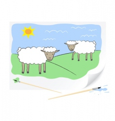 drawing sheep's vector image