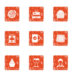 Drink together icons set grunge style vector