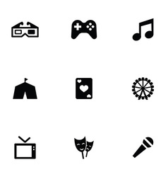 Entertainment 9 icons set vector