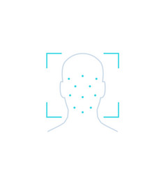 face recognition biometric facial scan line icon vector image
