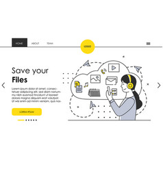 female character stores her files in cloud storage vector image
