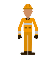 Firefighter with helmet professional worker avatar vector