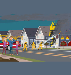Firefighters extinguish house insurence concept vector