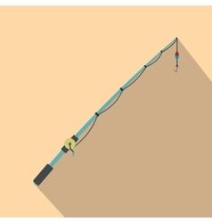 Fishing rod flat icon vector image vector image
