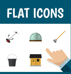 Flat icon garden set of hothouse tool pail and vector