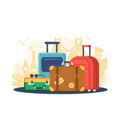 flat set suitcases on background of attractions vector image