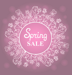 Floral wreath concept design for a spring sale vector