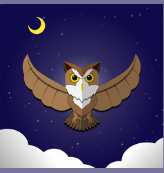 Flying owl on night backgroundfront view vector