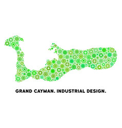 Gears grand cayman island map collage vector