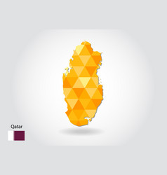 geometric polygonal style map of qatar low poly vector image