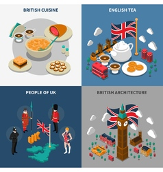 Great Britain Touristic Isometric 2x2 Icons Set vector image