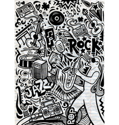 Hand drawn doodles musical poster vector