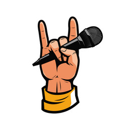 hand with microphone music concert symbol vector image