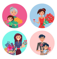 happy characters with flowers in colorful circles vector image