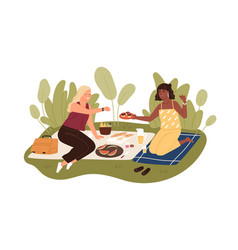 Happy female friends relaxing on picnic blanket vector