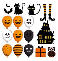 Happy halloween set icons vector