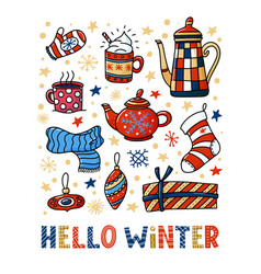 Hello winter greeting card design funny doodles vector