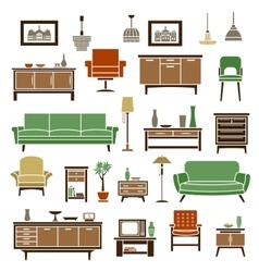 Home furniture elements in flat style vector