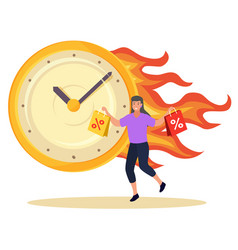 hot sale shopper with shopping bags and clock vector image
