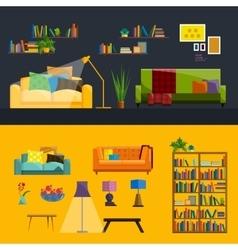 Living room Interior Modern flat design vector