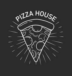 logotype with delicious pizza slice hand drawn vector image