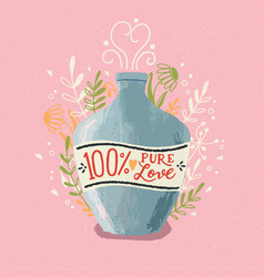love potion bottle with hand lettering colorful vector image