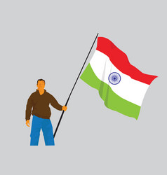 Man holding indian flag vector