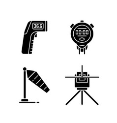 Measuring tools black glyph icons set on white vector