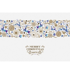 Merry christmas seamless pattern reindeer vintage vector
