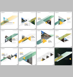 minimal brochure templates with colorful triangles vector image