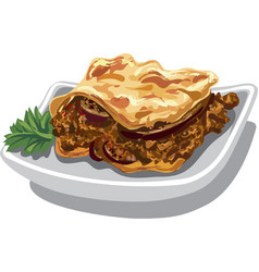 Moussaka baked dish vector
