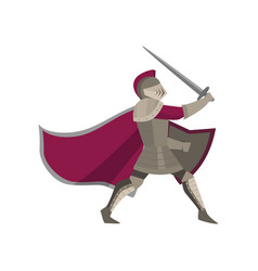 moving warrior knight with raised sword in hand on vector image