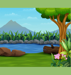 nature lanscape with a river and mountain backroun vector image