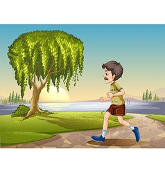Old man jogging in park vector