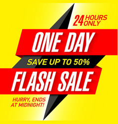 one day flash sale banner design template vector image