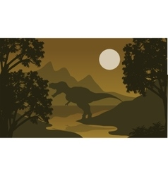 One T-Rex in riverbank silhouette vector image